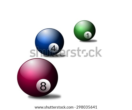 Color billiard balls pink blue green - stock photo