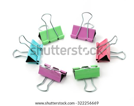 Color binder clips. Illustration on white background for design