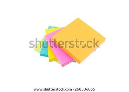 Color block of paper notes isolated on white background - stock photo