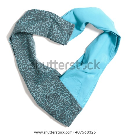 Color blue jeans isolated on white background heart shaped - stock photo