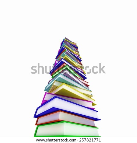 Color books on white background, 3D - stock photo