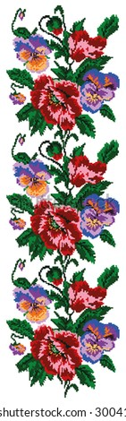 Color  bouquet of flowers (poppies and pansies) using traditional Ukrainian embroidery elements. Border pattern. Can be used as pixel-art.  - stock photo