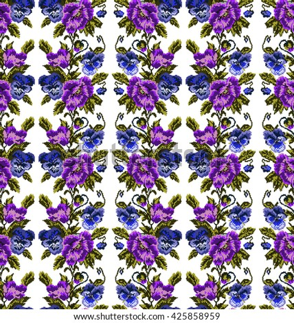 Color  bouquet of flowers (poppies and pansies) using traditional Ukrainian embroidery elements. Violet, dark blue, green tones. Seamless pattern. Can be used as pixel-art.  - stock photo
