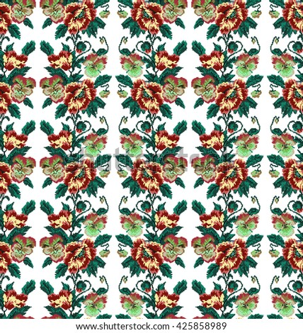 Color  bouquet of flowers (poppies and pansies) using traditional Ukrainian embroidery elements.Brown, yellow and green tones. Seamless pattern. Can be used as pixel-art.  - stock photo