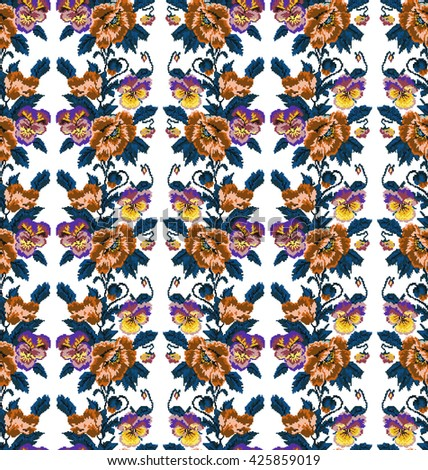 Color  bouquet of flowers (poppies and pansies) using traditional Ukrainian embroidery elements. Orange, brown, violet, yellow, blue tones.Seamless pattern. Can be used as pixel-art.  - stock photo