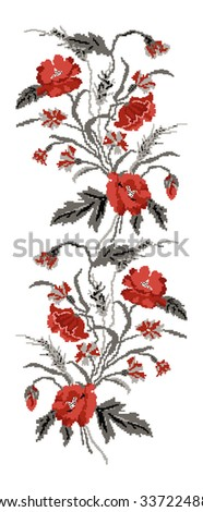 Color  bouquet of flowers (poppies,ears of wheat and cornflowers) red and grey tones. Ukrainian embroidery elements. Hand made. Border pattern. Can be used as pixel-art.   - stock photo