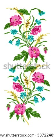 Color  bouquet of flowers (poppies,ears of wheat and cornflowers). Ukrainian embroidery elements. Hand made. Border pattern. Can be used as pixel-art.   - stock photo