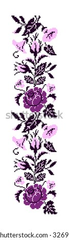 Color  bouquet of flowers (roses, bellflowers and pansies) using traditional Ukrainian embroidery elements. Violet and pink tones. Border pattern. Can be used as pixel-art.  - stock photo