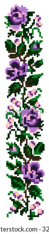 Color  bouquet of flowers (violet roses and cornflowers) using traditional Ukrainian embroidery elements. Border pattern. Can be used as pixel-art. - stock photo