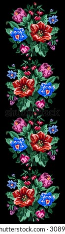 Color bouquet of wildflowers (lilia, bellflower, barberry flower and cornflowers) on the black background using traditional Ukrainian embroidery elements. Can be used as pixel-art. Border pattern. - stock photo