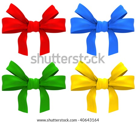 color bows on white background