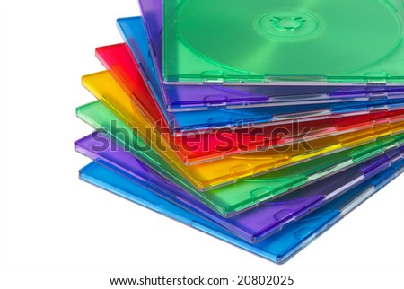 Color boxes for computer compact disc isolated over white