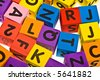 Color bricks with letter on the white background - stock photo