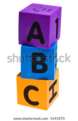 Color brioks with letter isolated on the white background - stock photo