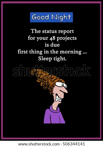 Color business illustration showing a stressed businesswoman trying to sleep, but cannot because she has a project review on her 48 projects in the morning.