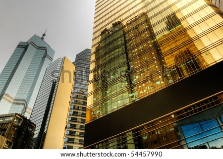 Color business office buildings exterior with glass in day. - stock photo
