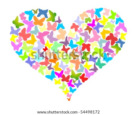 Color butterflies in the form of heart