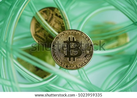 color cable on white background. abstract. bitcoin