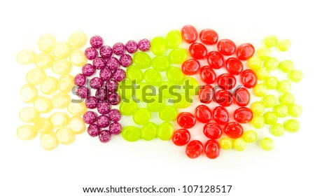 Color candy assorti isolated on white