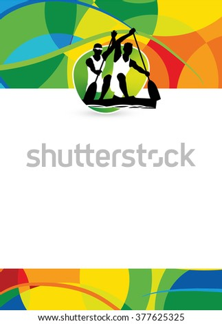 Color canoe sport flyer or poster background with empty space.  - stock photo
