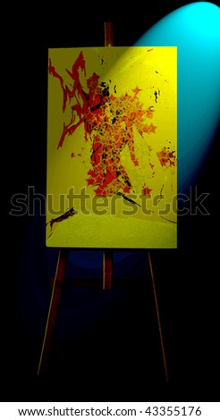 color canvas on a wooden tripod - stock photo