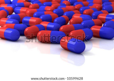 color capsule pills on white background - stock photo