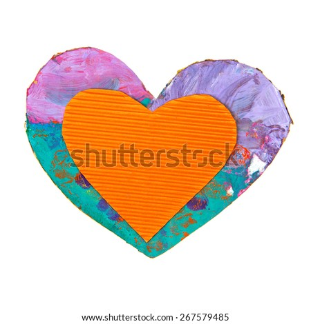 Color cardboard paper heart isolated over white - stock photo