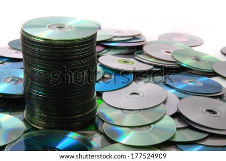color CD and DVD as IT technology background - stock photo