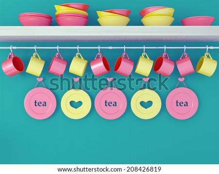 Color ceramic kitchenware on the shelf in front of green wall. - stock photo