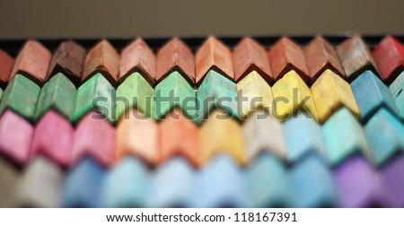 Color chalk pastels - stock photo