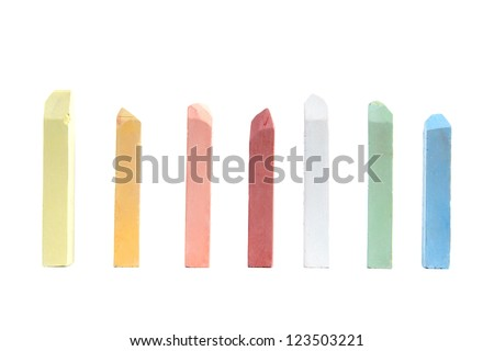 color chalks  on  white background - stock photo
