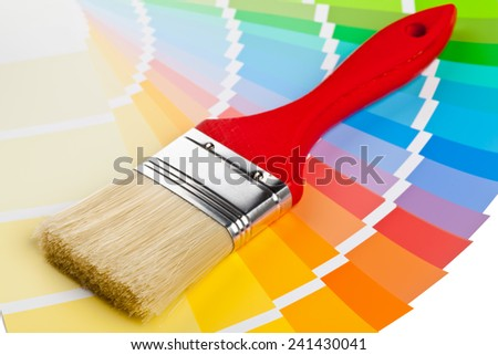 Color chart guide with brush on white background - stock photo