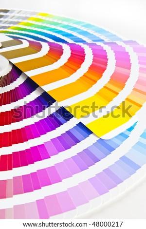 Color chart - Pantone/ Colour formula guide Focus on the front. - stock photo
