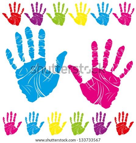 color children and parents hand print means different symbols - Children Color