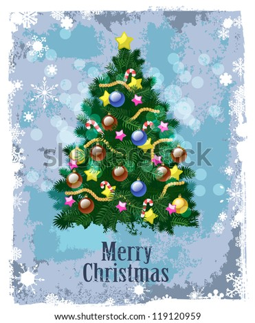 color christmas tree on blue background - stock photo