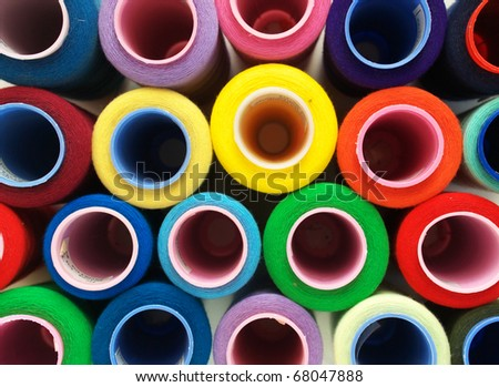 Color circles from threads. Abstract composition - stock photo