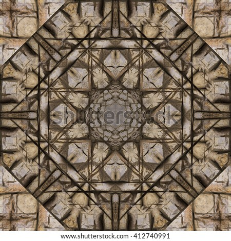 Color circular pattern. Round kaleidoscope - stock photo