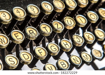Color close-up view of an old typewriter keys