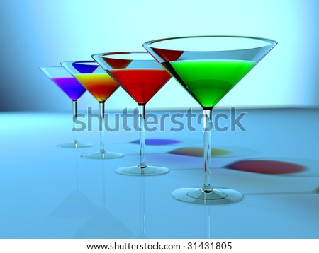 color cocktails - stock photo