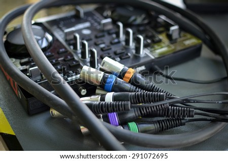 color coded cannon cables ready to be plugged for concert - stock photo
