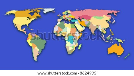Color coded world map - stock photo