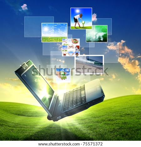 color collage of notebook against green nature background - stock photo