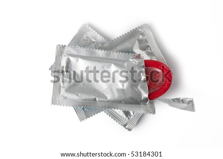 color condom on white background - stock photo