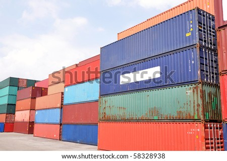 color containers in a harbor - stock photo