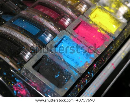 Color copier toner containers. - stock photo
