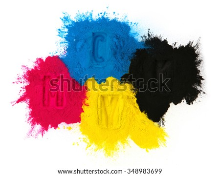Color copier toner cyan magenta yellow, black isolated on white - stock photo