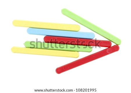 Color counting sticks formed arrow isolated on white