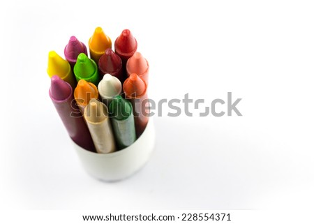 color crayon isolate, group - stock photo