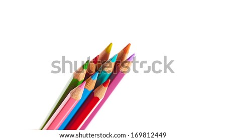 Color crayons on white background - stock photo
