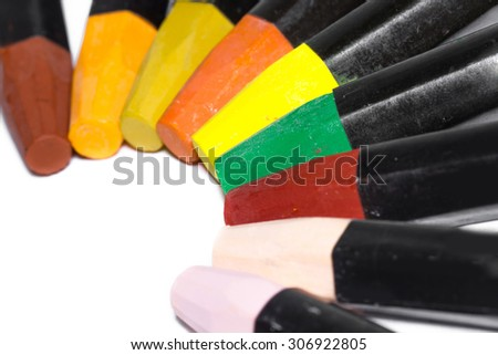 Color Crayons on white background. - stock photo